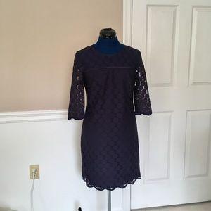 adrianna papell womens 4 navy short sleeve dress s